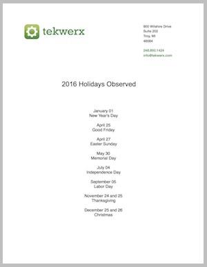 2016 tekwerx holidays