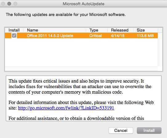 Do Not Update to Microsoft Office 14.5.0 for Mac